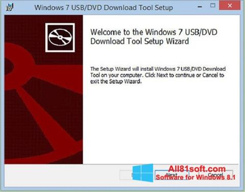 Ekrano kopija Windows 7 USB DVD Download Tool Windows 8.1