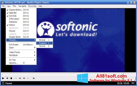 Ekrano kopija Media Player Classic Windows 8.1