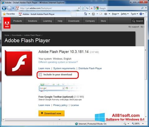 Ekrano kopija Adobe Flash Player Windows 8.1