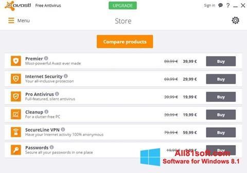 Ekrano kopija Avast Free Antivirus Windows 8.1