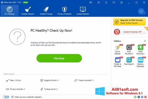 Ekrano kopija Wise Care 365 Windows 8.1