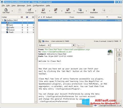 Ekrano kopija Claws Mail Windows 8.1