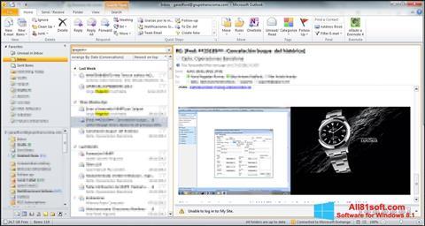 Ekrano kopija Microsoft Outlook Windows 8.1