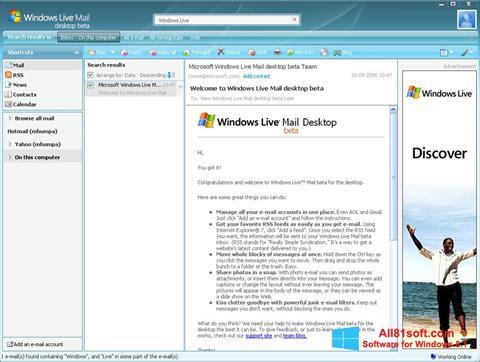 Ekrano kopija Windows Live Mail Windows 8.1
