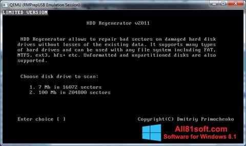 Ekrano kopija HDD Regenerator Windows 8.1