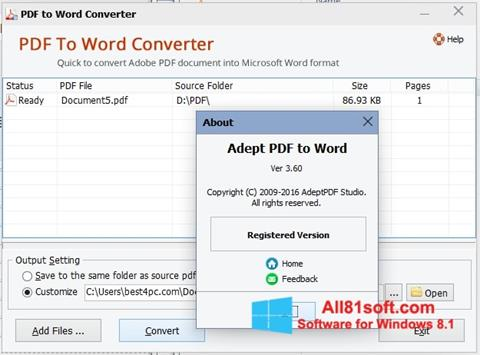 Ekrano kopija PDF to Word Converter Windows 8.1