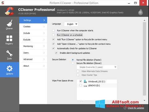 Ekrano kopija CCleaner Windows 8.1