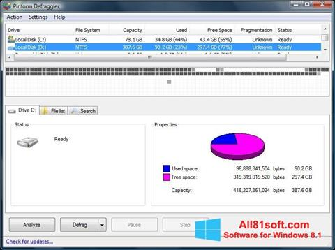 Ekrano kopija Defraggler Windows 8.1