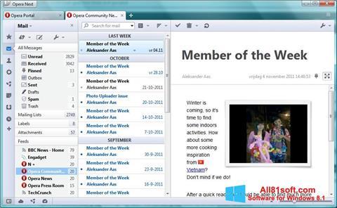 Ekrano kopija Opera Mail Windows 8.1