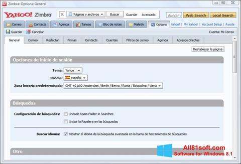 Ekrano kopija Zimbra Desktop Windows 8.1